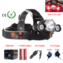 RED color light C-XML T6 5000Lm Rechargeable LED Headlamp T6 Flashlight Head Torch lamp with AC Car Charger 18650 Battery(China)