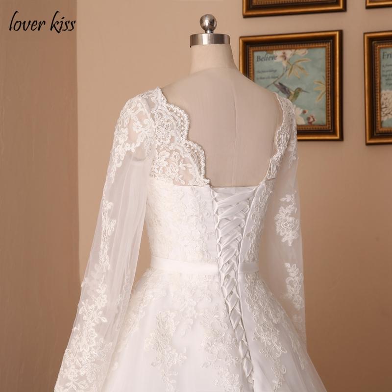 Lover Kiss Vestido De Noiva Custom Sheer Tulle Long Sleeve Wedding Dress Corset Back Lace Ball Gown Bridal Gowns For Weddings 9