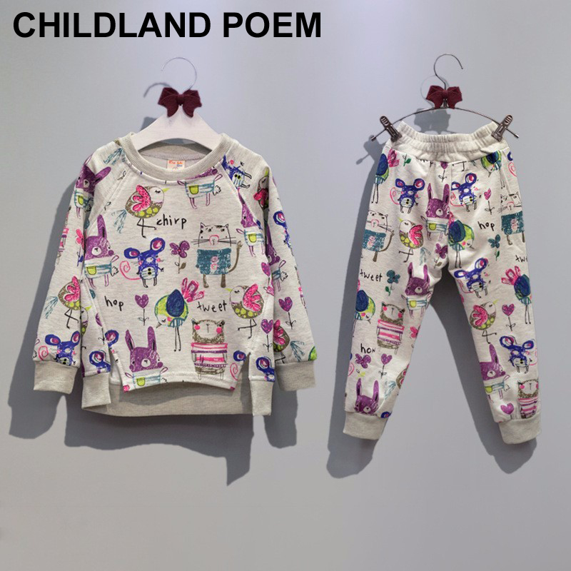 Autumn Cartoon Animals Graffiti Toddler Girl Clothing Sets Casual Kids Clothes Set Sweatshirts+Sport Pants Next Children Suits<br><br>Aliexpress