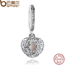 Good Quality Pure 925 Sterling Silver Angel Wings,Heart Shape, Clear CZ & Pink Enamel Fit Bracelet Heart Charms PAS044(China)