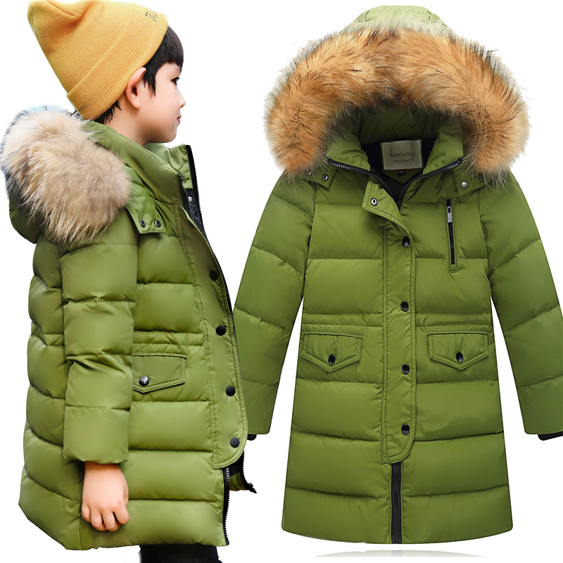 Childrens Down Jacket 2017 New Version Korean Girls Medium Long Winter Coats Thickening Big Hair Collar Boys Warm Parkas<br>