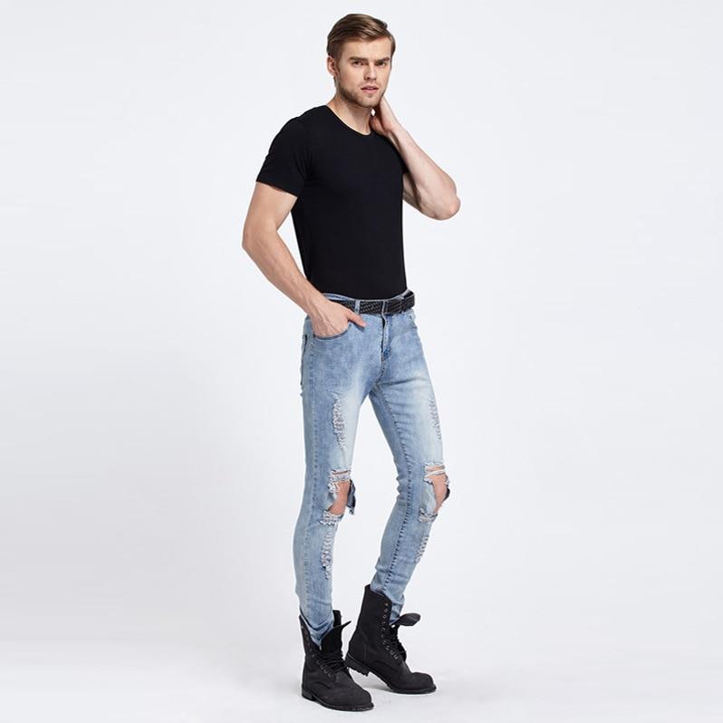 Men s Casual Fashion Street Trend Fold Nightclubs Elastic Hole Slim Feet Jeans MP007Одежда и ак�е��уары<br><br><br>Aliexpress