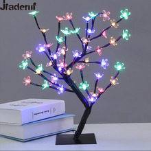 Jiaderui 48leds Cherry Blossom Desk Top Bonsai Tree Light White 0.45M Black Branches Festival Home Party Wedding Indoor Decor