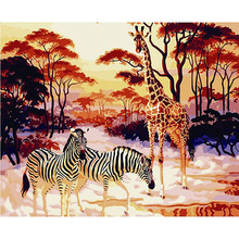 Frameless Giraffe Zebra Animals DIY Painting By Numbers Kits Coloring By Numbers Handpainted On Canvas Home Wall Art Picture