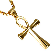 HIP The Cross of Life Pendant & Necklaces Gold Color Stainless Steel Egyptian Ankh Cross Necklace For Men Jewelry(China)