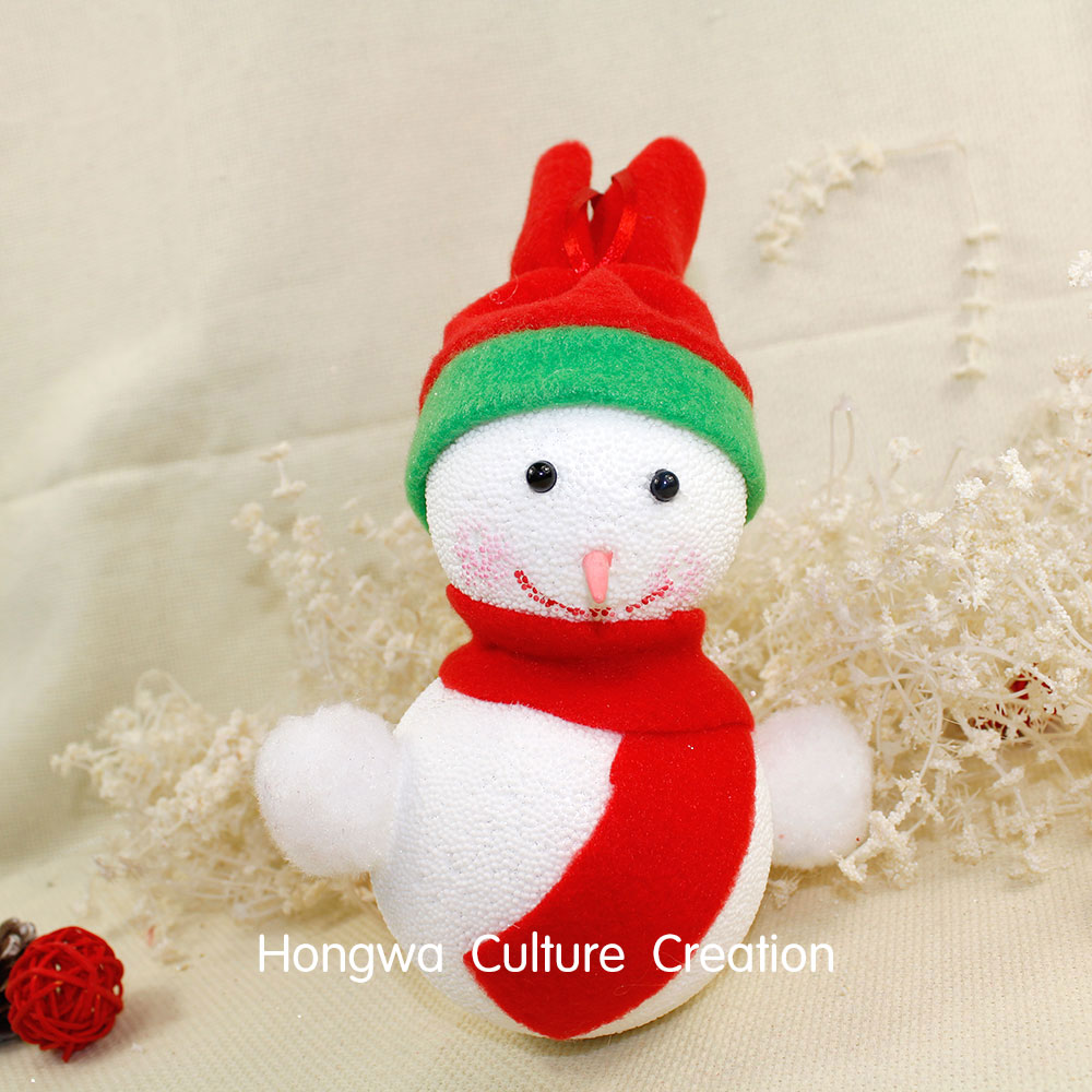 8*21CM 2pcs Snowman Foam Red Hat and Scarf Pink White Snowman Christmas Tree Decoration Xmas Ornaments Small Head(China (Mainland))