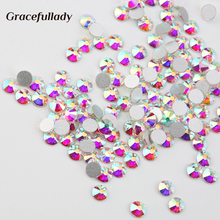 Super Glitter Crystal AB Rhinestone Flat Back Glass Nail Rhinestones For Charms 3D Nails Art Decorations Strass(China)