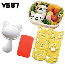 Sushi Rice Mold Set Cute Smile Cat Nori Decor Cake Cutter Bento Maker Cheese Ham Sandwich DIY Kitchen Gadgets Tool(China)