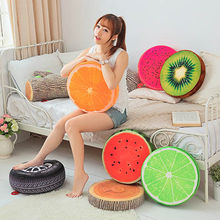 3D Simulation Plush Fruit Cushion Pillow Round Bedroom Office Sofa Decoration Watermelon Lemon Kiwi Chair Car Seat Pads(China)
