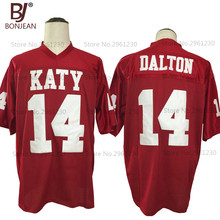 New Cheap American Football Jersey Andy Dalton 14 Katy High School Tigers Red Football Jersey Throwback Stitched Mens Shorts(China)