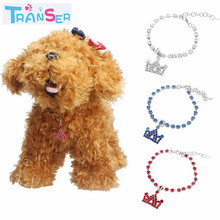 Transer 3 color crown Rhinestone necklace Pet pendant dogs Charms Pet Necklace Collar Dog Jewelry wholesale cheap 17Jan(China)