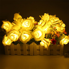 Battery Powered 2M 20PCS Rose Flower Novelty Garland Fairy String Lights For Wedding Garden Party Christmas Decoration