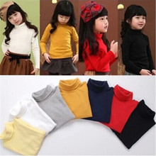 Factory Price children T-shirts baby girl &boy basic t shirt solid color unisex cotton kids long-sleeve turtleneck tshirt(China)