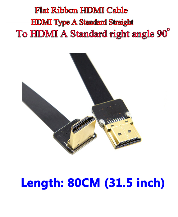 80CM 0.8M HDMI FPV A Male Straight  to A Male Down Angled 90 Degree HDTV Flat Cable for Multicopter Aerial Photography CCTV<br>
