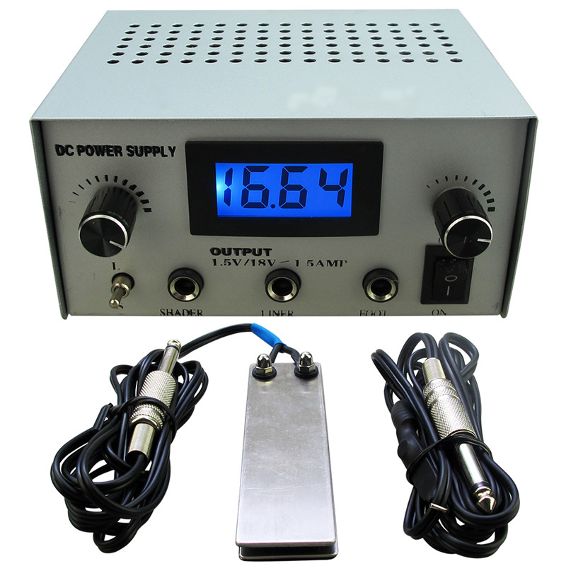 Porfessioanl Tattoo Power Supply Kit LCD Digital Tattoo Power Supply Sliver+Stianless Steel Tattoo Foot Pedal Switch + Clip Cord<br>