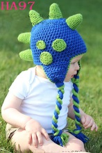 New Dinosaur Design Baby Hat Crochet Knitted Cotton Children Handmade Animal Beanie Cap Infant Winter Warm Earflaps Hat