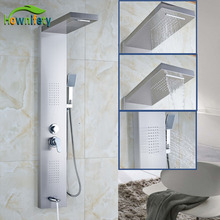 Wall Mounted Rain Waterfall Shower Panel Nickel Brushed Shower Faucet W/Hand Shower Bathtub Mixer Sets(China)