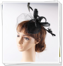 Elegant fascinator hair accessories sinamay base with birdcage veil great as wedding headwear bridal veil and occassion hats