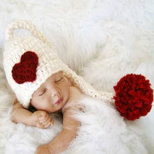 Baby Girls Boys Hat Christmas Red Love Heart Cap Crochet Knitted Costume newborn photography props children's hats Winter(China)