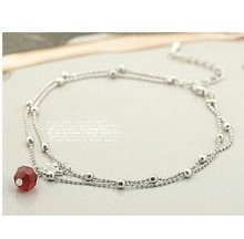 Fashion Double Temptation of Red Crystal Beads Sparkling Anklets Swan Jewelry Accessories Bangles(China)