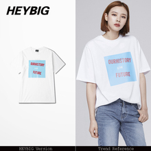 candy color printed Ulzzang tee shirts 2017 summer HEYBIG new tops concise letter hip hop t-shirts Asian size!! clothes(China)