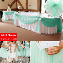 Promotion mint green 10M*1.35M Sheer Organza Swag Fabric home wedding decoration Organza Fabric table curtain, HQ free shipping(China)