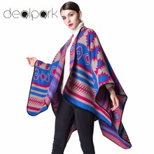 Autumn Winter Women Poncho Scarf Cardigan Sweater Geometrical Print Warm Cape Shawl Long Scarves Pashmina Outwear Casual Wraps(China)