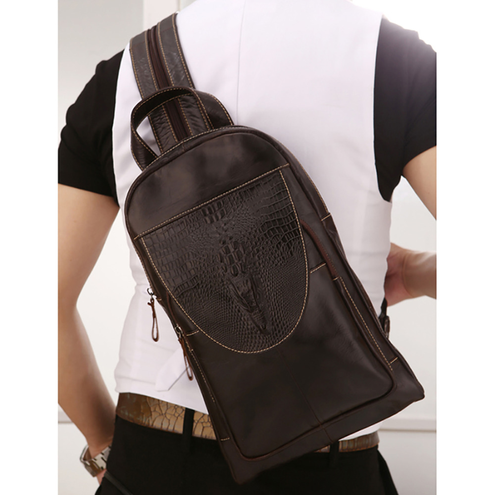 Men Genuine Leather Crossbody Chest Day Pack Vintage Sling Shoulder Messenger Travel Bag Crocodile Pattern Design Male Backpack<br>