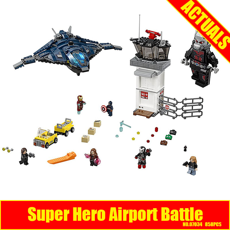 LEPIN 07034 Super Heroes Airport Battle Quinjet Ant-Man Winter Soldier Building Set DIY Blocks Compatible 76051 Educational Gift<br>