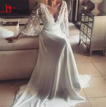 Charming Chiffon Lace Bohemian Wedding Dress 2017 A Line Plunging V Neck Long Sleeve Vintage Greek Style Beach Wedding Gown(China)