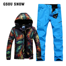 Gsou SNOW camouflage pants snowboard jackets ski suit sets men chaqueta hombre veste ski clothing mountain skiwear