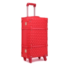 Wholesale!12 22 24inches whole red vintage pu leather bride married trolley luggage,female fashion retro red luggage suitcaseset(China)