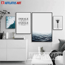 AFFLATUS Nordic Minimalism Sea Landscape Quotes Wall Art Print Poster Canvas Painting Wall Pictures For Living Room Home Decor(China)