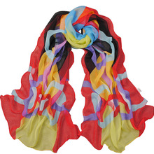 Refreshing Chiffon Multicolor Circle Pattern Design Scarf For Women red yellow black