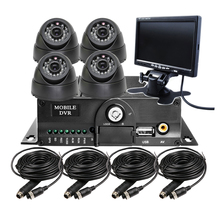 "Free Shipping 7"" Car Monitor 4 Channel Video Recorder SD 720P AHD Car Mobile DVR CCTV System DVR + AHD Camera For Bus Truck Van(China)"