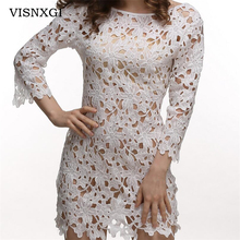 VISNXGI Hollow White Lace One Piece Sexy Transparent Dress Women 2017 Summer New Long Sleeve Crochet Slender Beach Bikini Dress