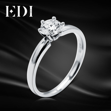 Real Moissanite (D-F VVS) Solitaire Elice 9k White Gold Ring 1CT Round Cut Brilliant Lab Grown Diamond Wedding Jewelry For Women(China)