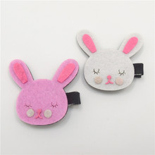 10pcs/lot Easter Bunny Felt Hair Clip for Little Girl Pink White Rabbit Double Prongs Hairpins Cartoon Animal Animation Grips