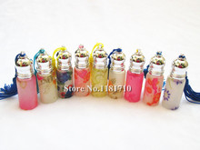 DHL FREE SHIPPING 300pcs 6ml roll on perfume bottle glass empty container flower printed roller essential oil vials refillable