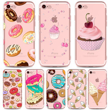 Colorful Donuts Hamburgers Macaron Ice Cream Phone Cases for iphone 7 7plus Silicon TPU Cover Girly Protective Shell fundas