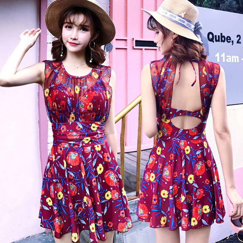 L-3XL Summer 2018 new Sexy print Swimsuit Floral skirt style Flat pants womens one-piece swimwear beach women bathing suits<br>