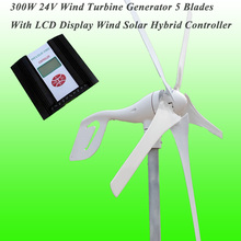 Hot selling Rated 24V 300W Wind Generator/Wind Turbine with five blades and perfect wind solar hybrid controller(China)