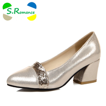 S.Romance Plus Size 32-45 Women Pumps Fashion Sexy Pointed Toe Slip-On High Heel Hot Sale Women Shoes Black Gold Silver SH361(China)