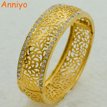 Anniyo 5.8CM Openable Bangle For Women Gold Color Jewelry Ornaments Exquisite Pattern Big Bracelet With RhineStone #003110