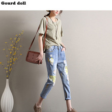 Gourd doll Middle Waist women skinny jeans Print pattern Hole Denim Pencil pants size26-31 Ankle-length Pants(China)
