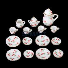 SPMART 15pcs Dollhouse Miniature Dining Ware Porcelain Tea Set Dish Cup Plate -Red Cherry(China)