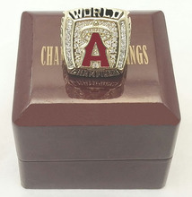 wholesale Promotion 2002 Los Angeles Angels World Series Baseball Replica High Quality Championship Ring with Wooden Box