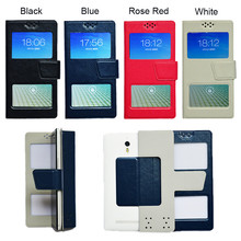 New Dual Window Universal Flip PU Leather Case Cover For Highscreen Power Five Phone In Stock N3