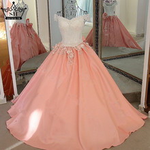 Sexy Sleeveless Beading Sequined Flowers Evening Dresses Long Pink Orange Satin Dress Bride 2017 Robe De Soiree Serene Hill