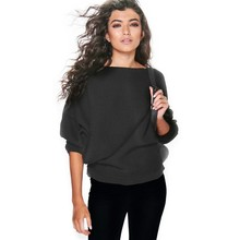 Wholesale Plus Size Fashion Women Loose Casual Pullovers Sweaters Rib Knit Batwing Jumper Sweater Soft Knitwear